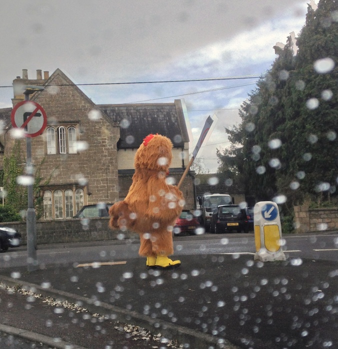 One chicken protest outside Kentucky Fried Chicken in Trowbridge