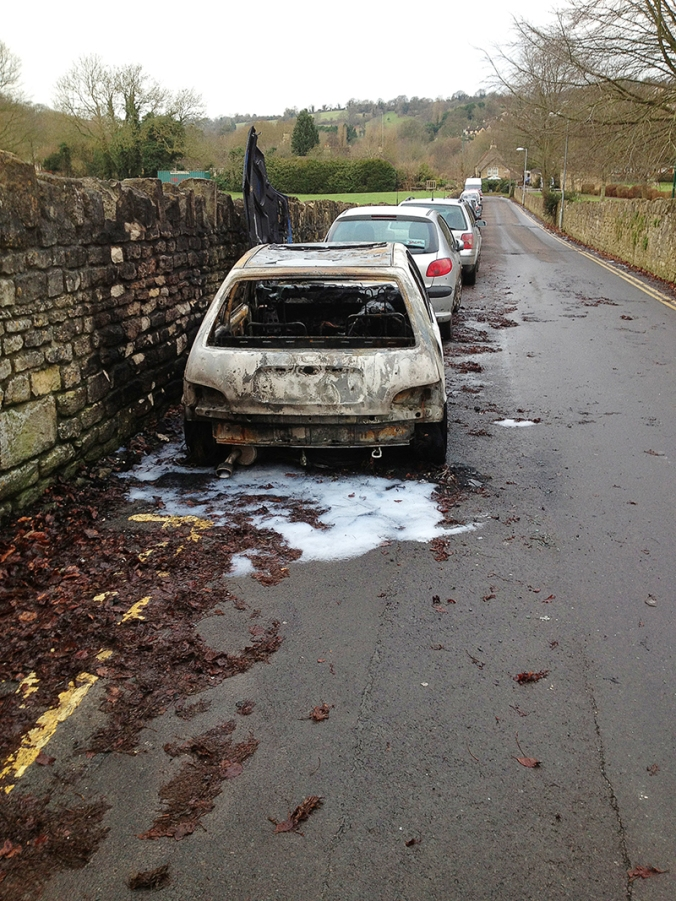 Burnt out car on Pound Lane