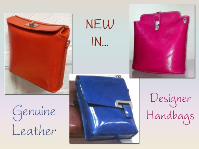Our new range of genuine leather designer handbags at SerenArts Gallery