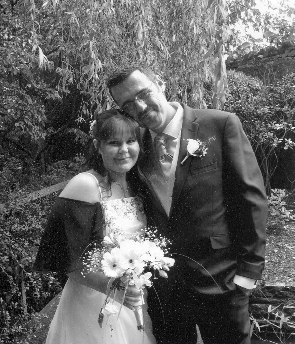 black and white wedding photograph on canvas