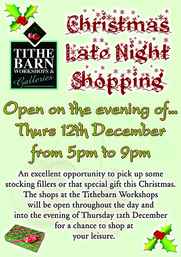 Late Night Christmas Shopping at Tithebarn Workshops