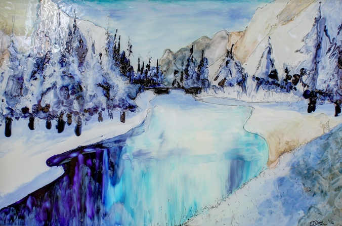 alpine reflections, an impressionist, freestyle glass painting  by serena pugh