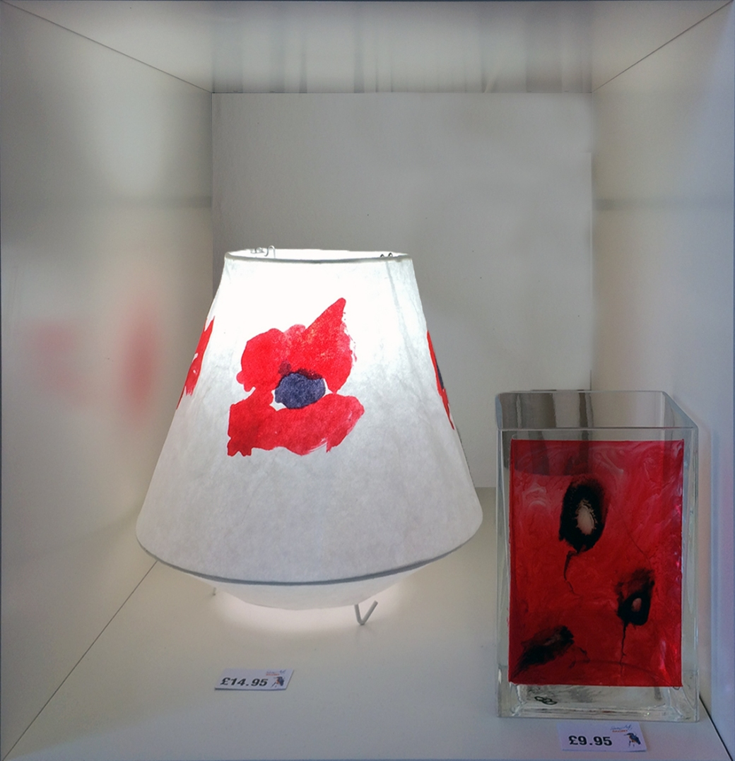Hand painted lamps by Serena Pugh