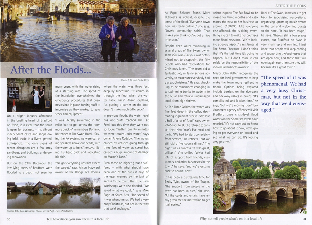 Article in the Local Life magazine in Bradford on Avon, with photograph by Serena Pugh of SerenArts Gallery