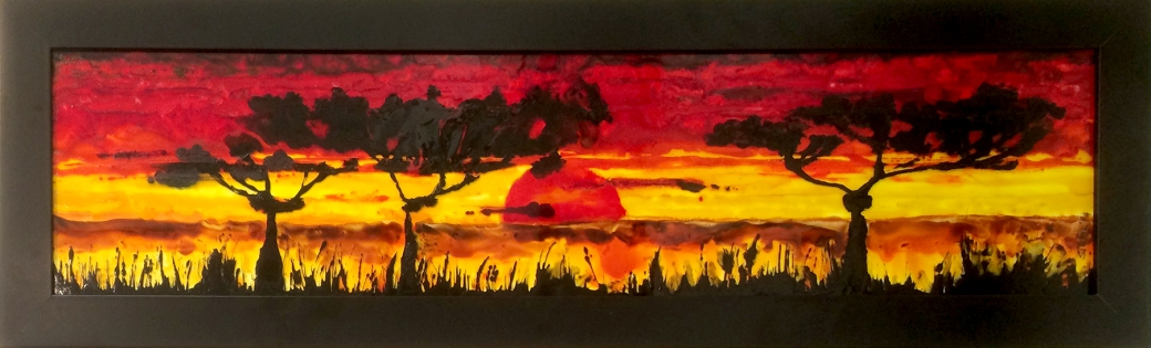 glass art painting african sunset by serena pugh