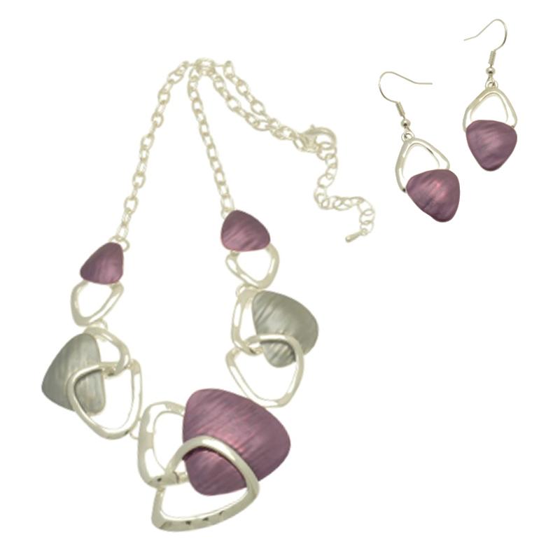 Triangle Design Purple / Silver Necklace Set