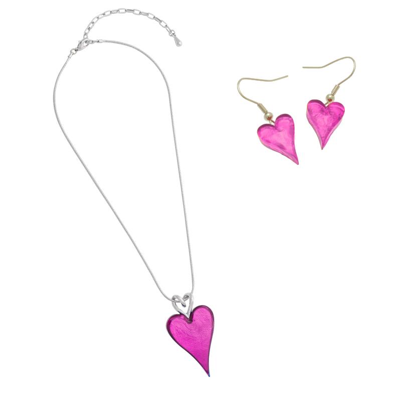 Pink Heart Necklace Set