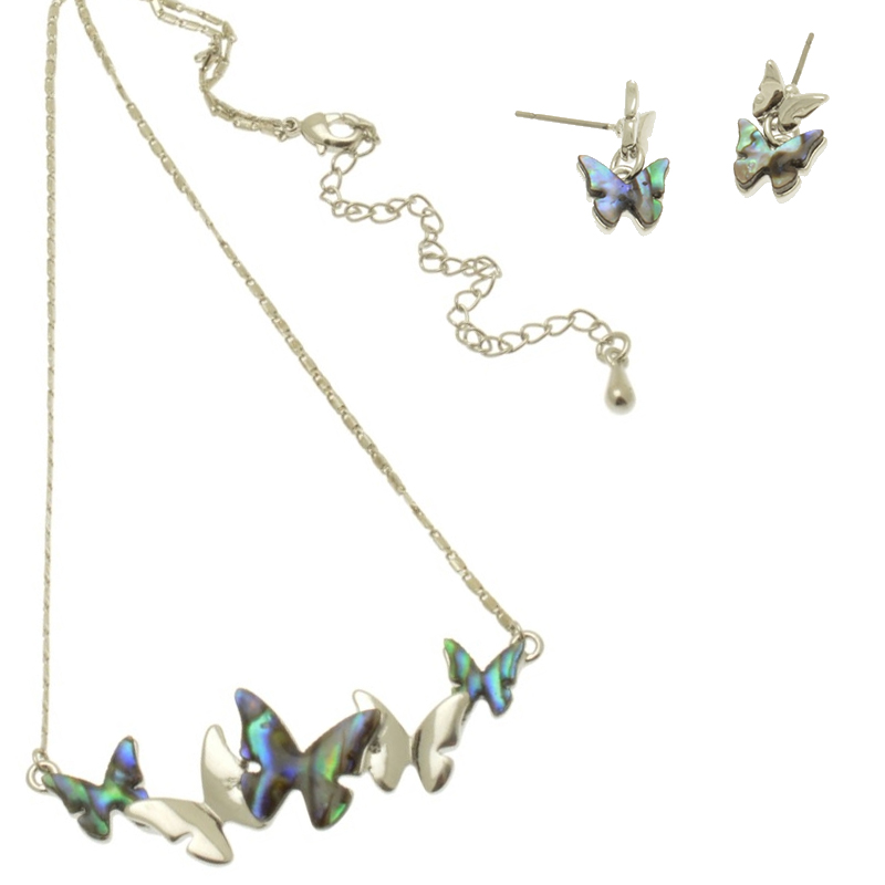 Paua Butterfly Necklace Set
