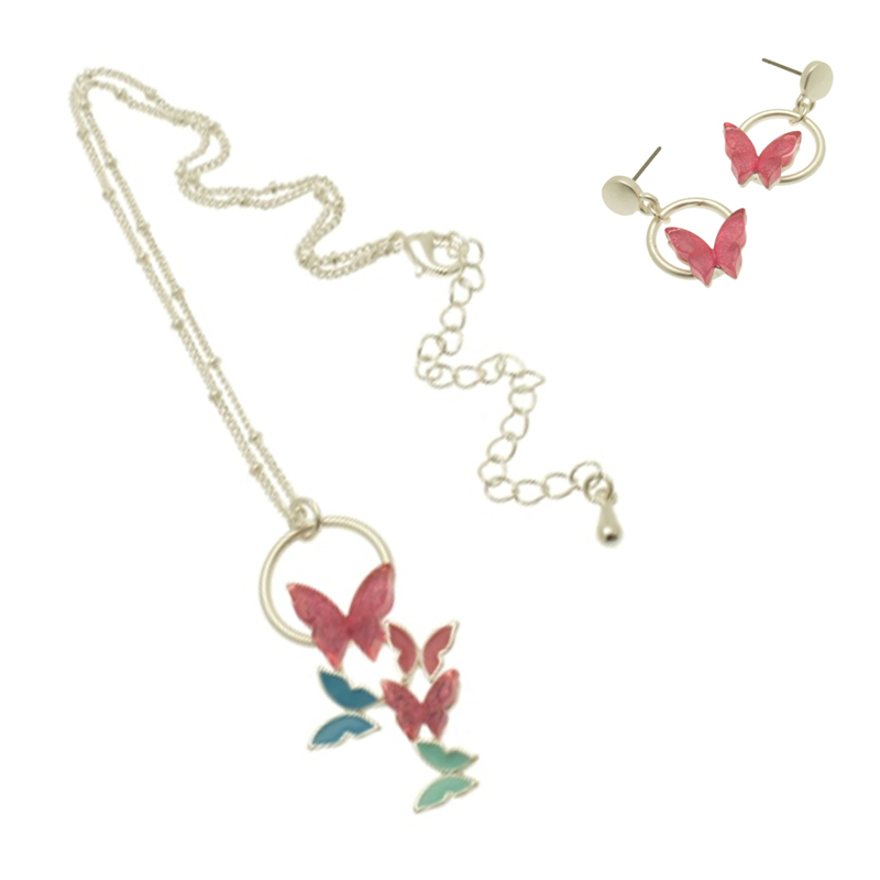 Pink Butterfly Necklace Set