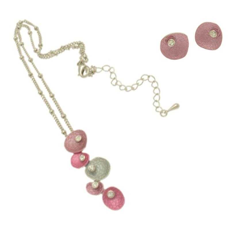Purple Pebble Necklace Set