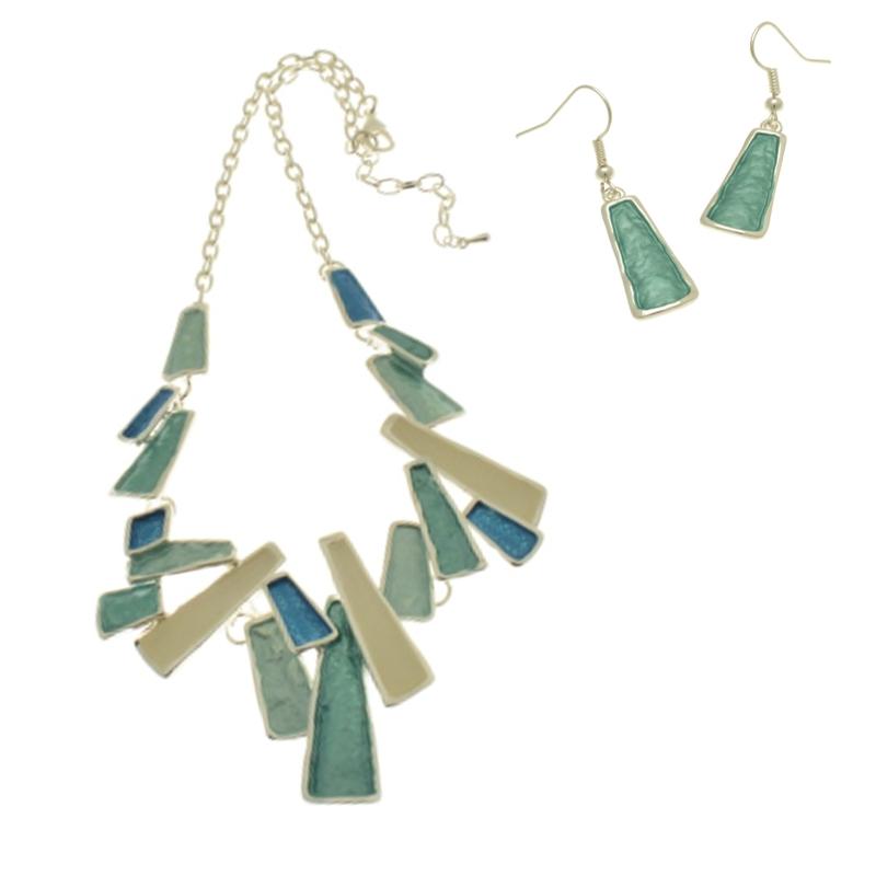 Blue Shard Necklace Set