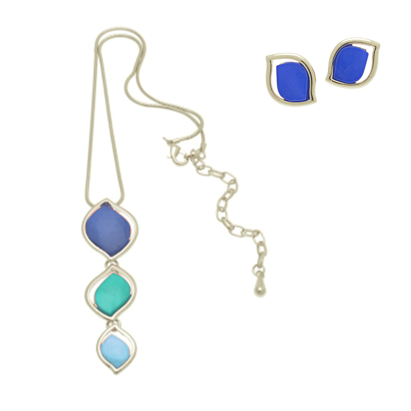 Blues Petal Necklace Set
