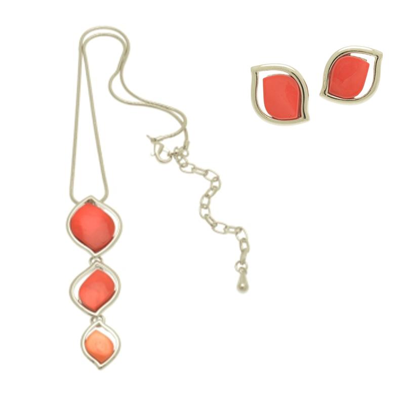 Coral Petal Necklace Set