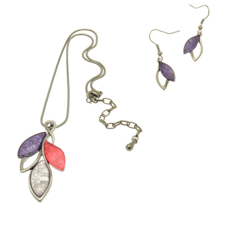 Leaf Design Pink / Purple Necklace Set