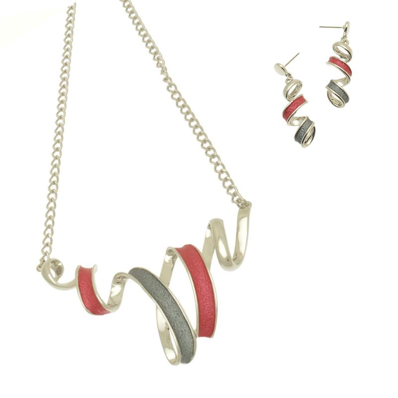 Ribbon Design Red Necklace Set