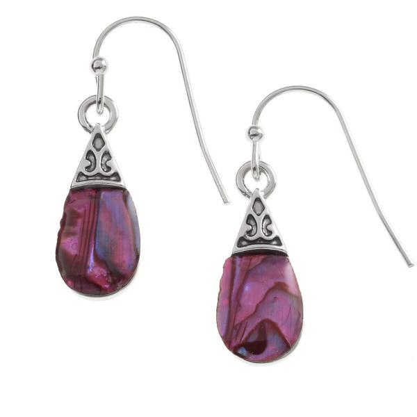Pink Pear Drop Paua Shell Earrings