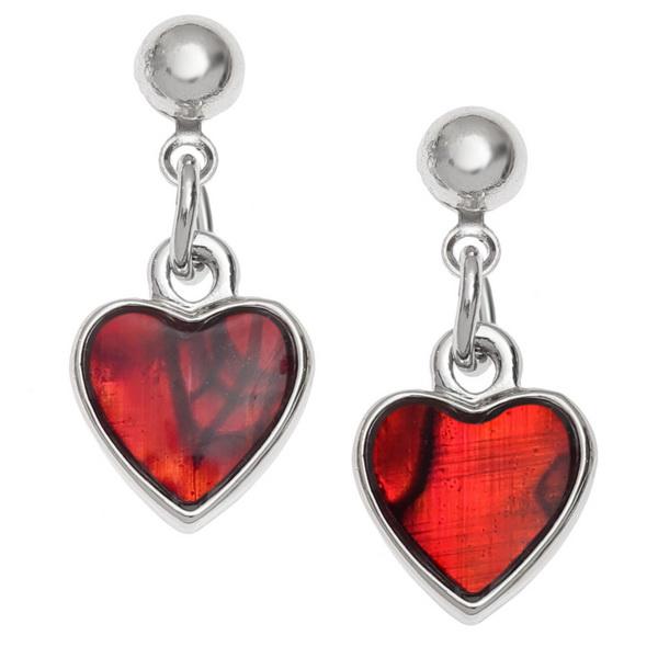 Heart Drop Paua Shell Earrings