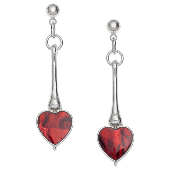 Long Heart Drop Paua Shell Earrings