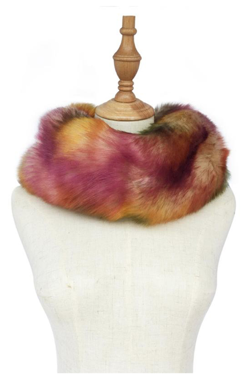 Yellow abstract Faux Fur Snood