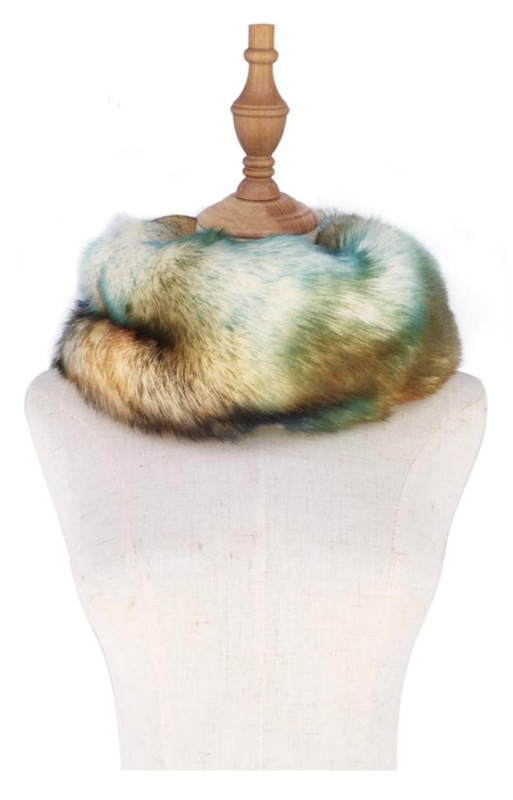 Green abstract Faux Fur Snood